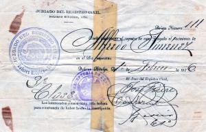Certificado de nacimiento de JAJ.